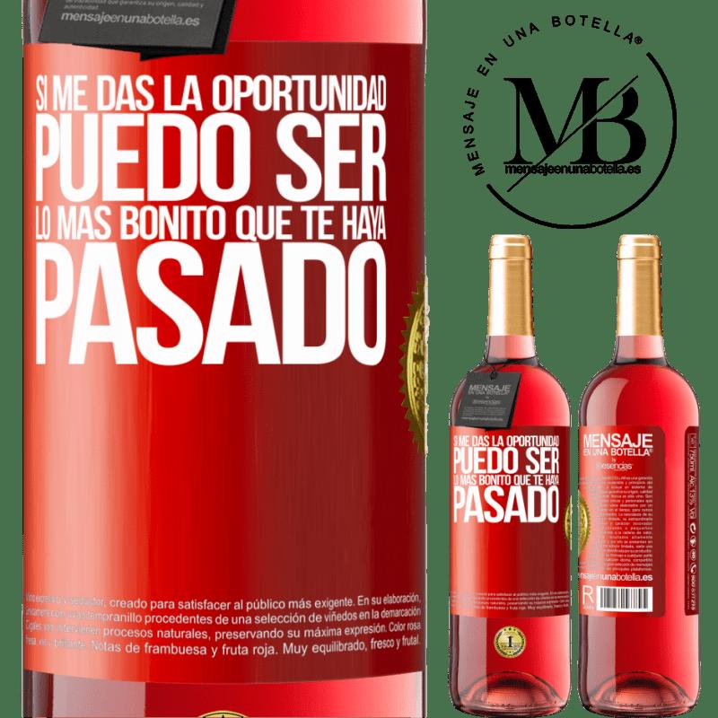 24,95 € Envoi gratuit | Vin rosé Édition ROSÉ Si vous me donnez l'occasion, je peux être la plus belle chose qui vous soit arrivée Étiquette Rouge. Étiquette personnalisable Vin jeune Récolte 2020 Tempranillo