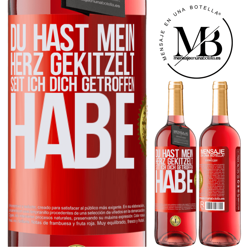 24,95 € Kostenloser Versand   Roséwein ROSÉ Ausgabe Du hast mein Herz gekitzelt, seit ich dich getroffen habe Rote Markierung. Anpassbares Etikett Junger Wein Ernte 2020 Tempranillo