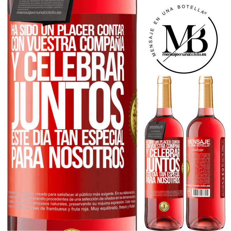 24,95 € Envoi gratuit | Vin rosé Édition ROSÉ Ce fut un plaisir d'avoir votre entreprise et de célébrer ensemble cette journée spéciale pour nous Étiquette Rouge. Étiquette personnalisable Vin jeune Récolte 2020 Tempranillo