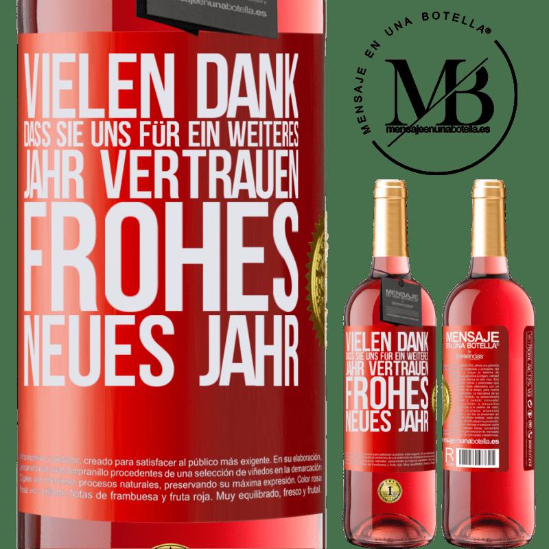 24,95 € Kostenloser Versand | Roséwein ROSÉ Ausgabe Vielen Dank, dass Sie uns für ein weiteres Jahr vertrauen. Frohes neues Jahr Rote Markierung. Anpassbares Etikett Junger Wein Ernte 2020 Tempranillo