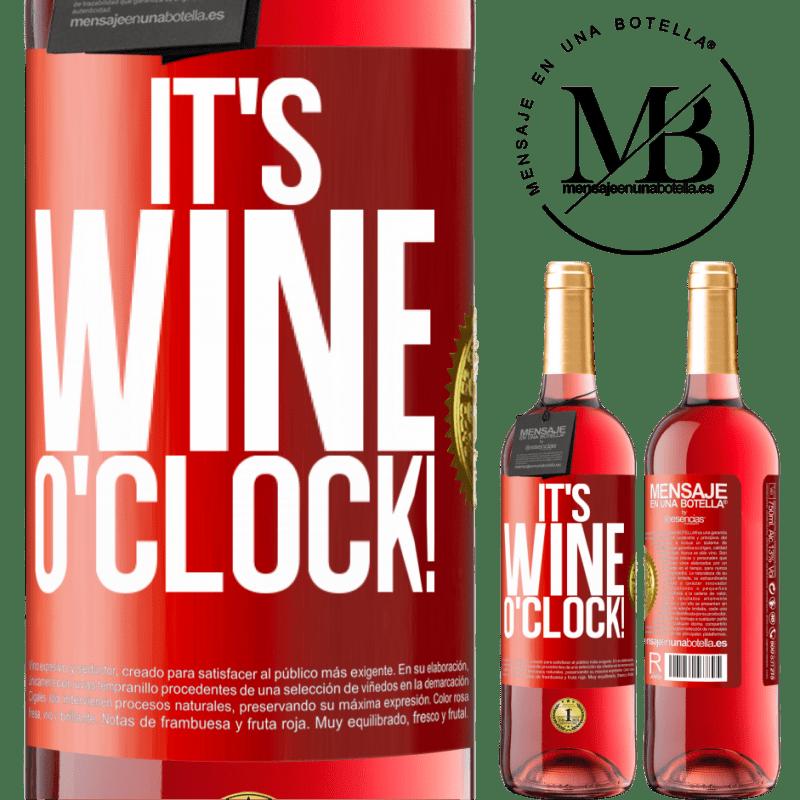 24,95 € Envoi gratuit | Vin rosé Édition ROSÉ It's wine o'clock! Étiquette Rouge. Étiquette personnalisable Vin jeune Récolte 2020 Tempranillo