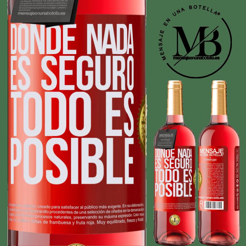 24,95 € Envoi gratuit | Vin rosé Édition ROSÉ Là où rien n'est sûr, tout est possible Étiquette Rouge. Étiquette personnalisable Vin jeune Récolte 2020 Tempranillo