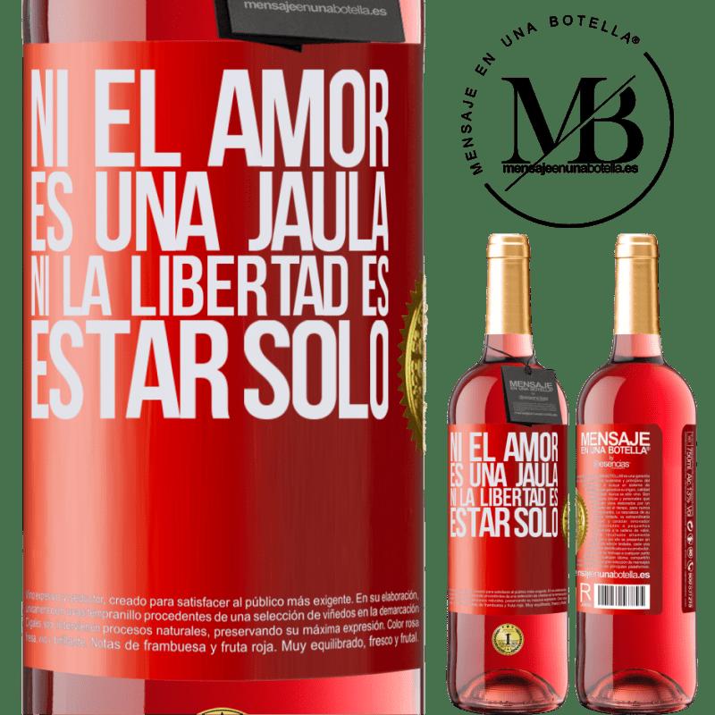 24,95 € Envoi gratuit | Vin rosé Édition ROSÉ Ni l'amour n'est une cage, ni la liberté n'est pas seul Étiquette Rouge. Étiquette personnalisable Vin jeune Récolte 2020 Tempranillo