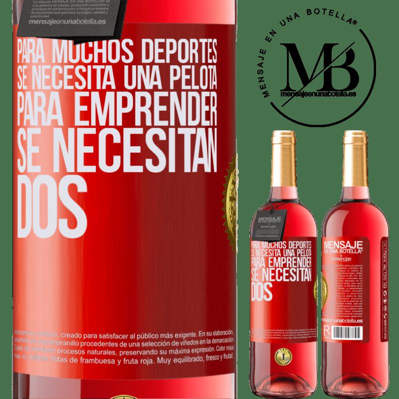 24,95 € Envoi gratuit | Vin rosé Édition ROSÉ Pour de nombreux sports, un ballon est nécessaire. Pour entreprendre, il faut deux Étiquette Rouge. Étiquette personnalisable Vin jeune Récolte 2020 Tempranillo