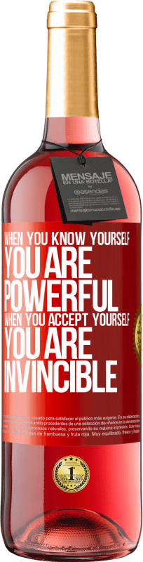 24,95 € Free Shipping   Rosé Wine ROSÉ Edition When you know yourself, you are powerful. When you accept yourself, you are invincible Red Label. Customizable label Young wine Harvest 2020 Tempranillo