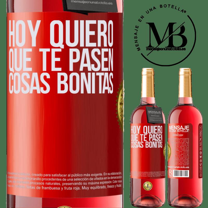 24,95 € Envoi gratuit | Vin rosé Édition ROSÉ Aujourd'hui, je veux que de belles choses vous arrivent Étiquette Rouge. Étiquette personnalisable Vin jeune Récolte 2020 Tempranillo