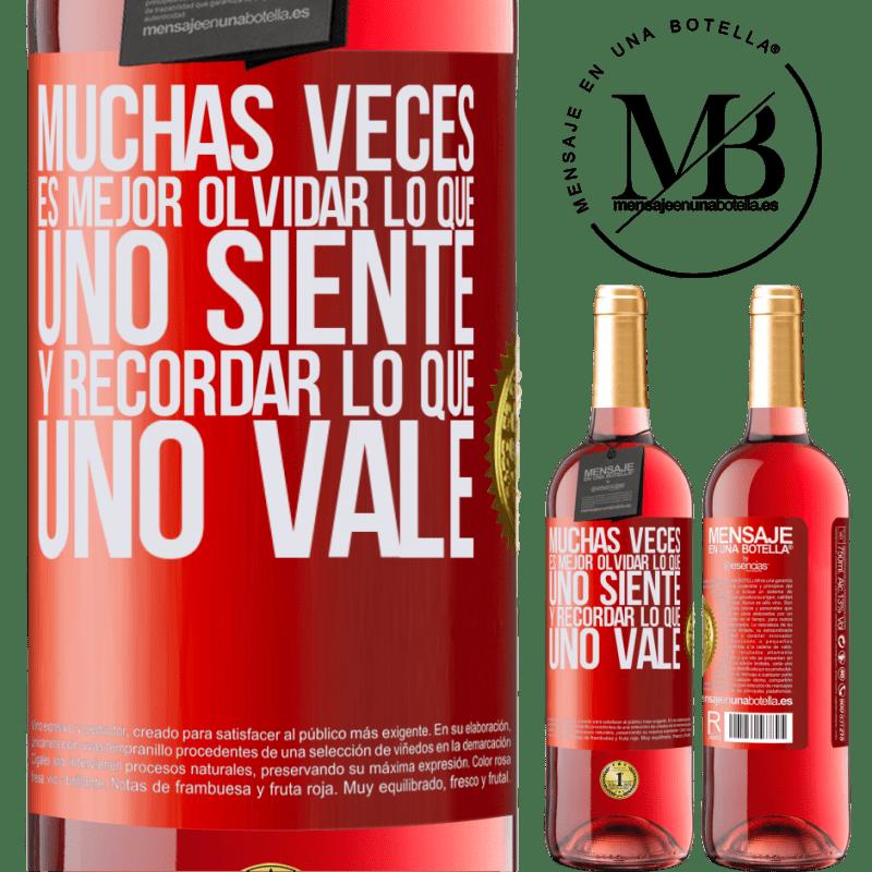 24,95 € Envoi gratuit | Vin rosé Édition ROSÉ Souvent, il vaut mieux oublier ce que l'on ressent et se souvenir de ce que l'on vaut Étiquette Rouge. Étiquette personnalisable Vin jeune Récolte 2020 Tempranillo