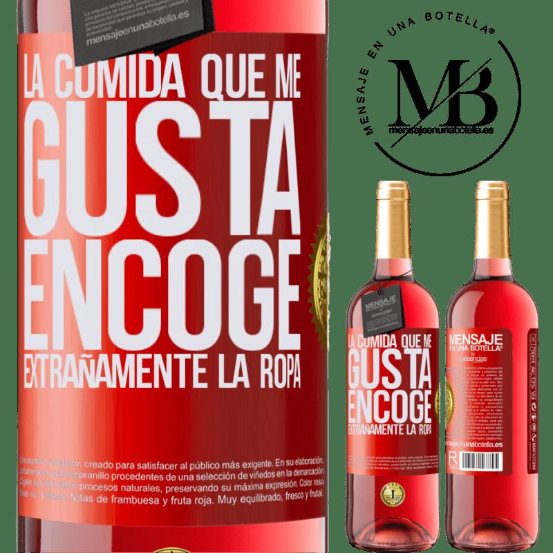 24,95 € Envoi gratuit   Vin rosé Édition ROSÉ La nourriture que j'aime rétrécit étrangement Étiquette Rouge. Étiquette personnalisable Vin jeune Récolte 2020 Tempranillo