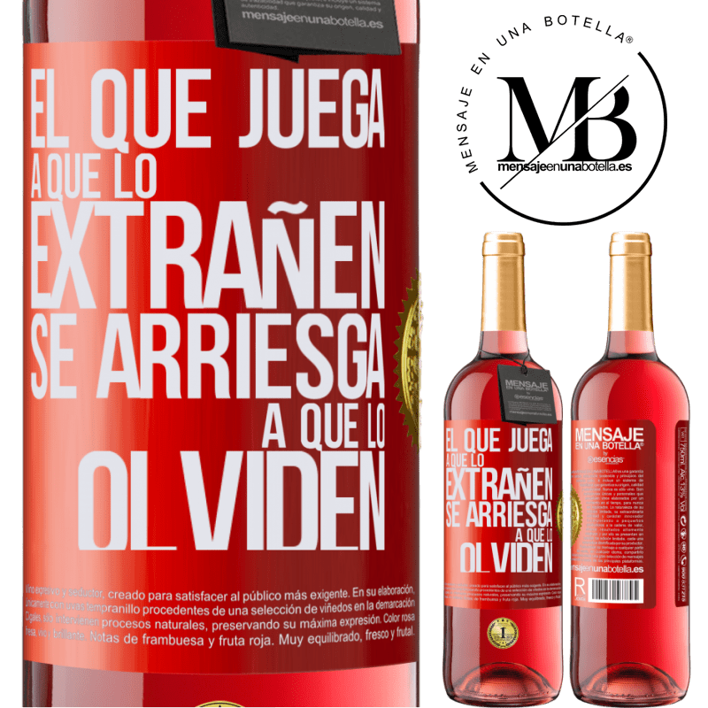24,95 € Envoi gratuit | Vin rosé Édition ROSÉ Celui qui joue à manquer risque d'être oublié Étiquette Rouge. Étiquette personnalisable Vin jeune Récolte 2020 Tempranillo