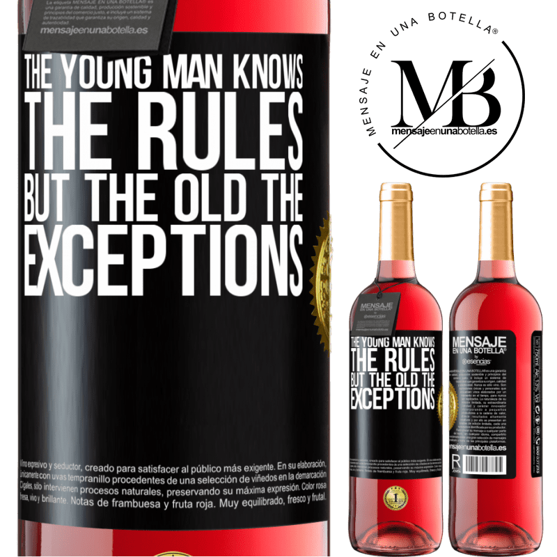 24,95 € Free Shipping | Rosé Wine ROSÉ Edition The young man knows the rules, but the old the exceptions Black Label. Customizable label Young wine Harvest 2020 Tempranillo