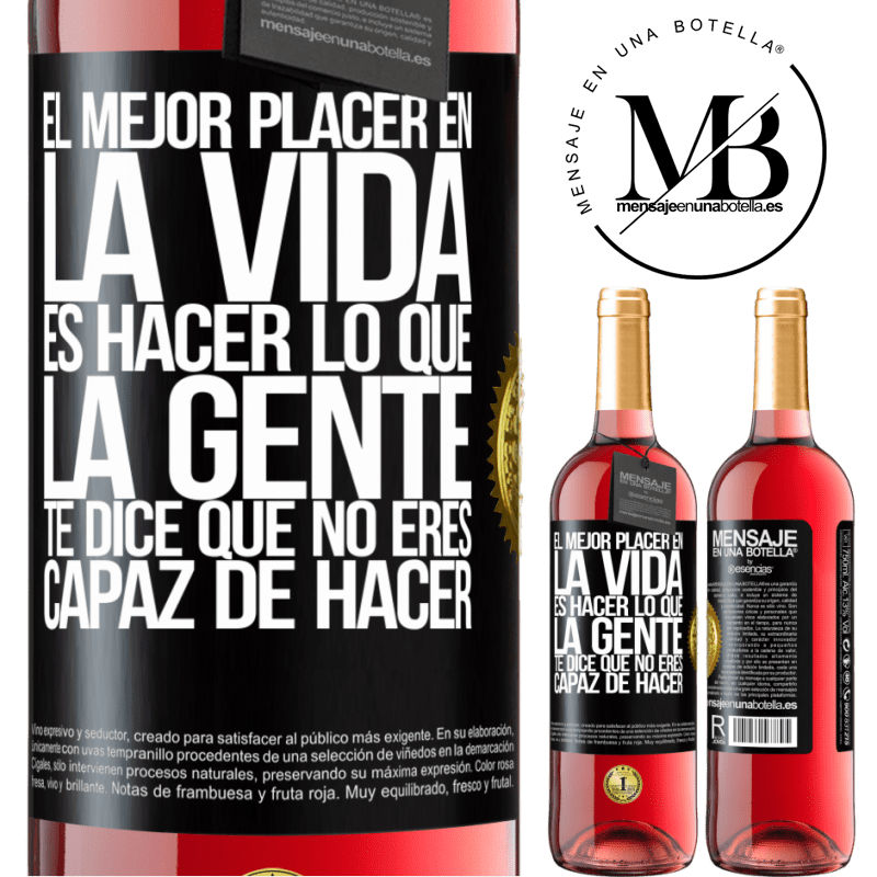 24,95 € Envoi gratuit   Vin rosé Édition ROSÉ Le meilleur plaisir de la vie est de faire ce que les gens vous disent que vous ne pouvez pas faire Étiquette Noire. Étiquette personnalisable Vin jeune Récolte 2020 Tempranillo
