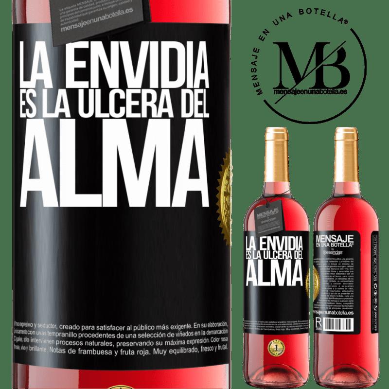 24,95 € Envoi gratuit | Vin rosé Édition ROSÉ L'envie est l'ulcère de l'âme Étiquette Noire. Étiquette personnalisable Vin jeune Récolte 2020 Tempranillo