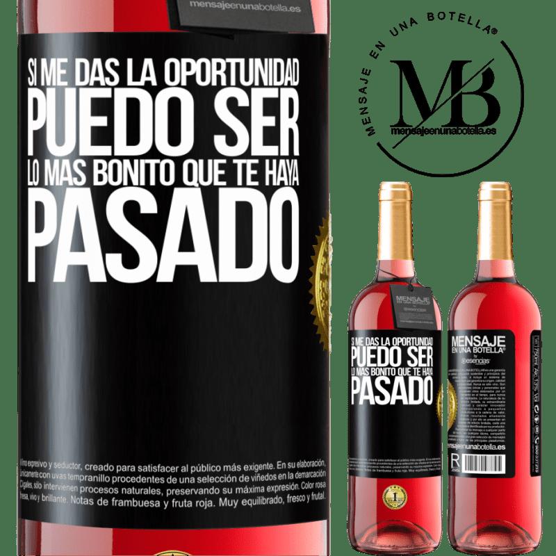 24,95 € Envoi gratuit | Vin rosé Édition ROSÉ Si vous me donnez l'occasion, je peux être la plus belle chose qui vous soit arrivée Étiquette Noire. Étiquette personnalisable Vin jeune Récolte 2020 Tempranillo
