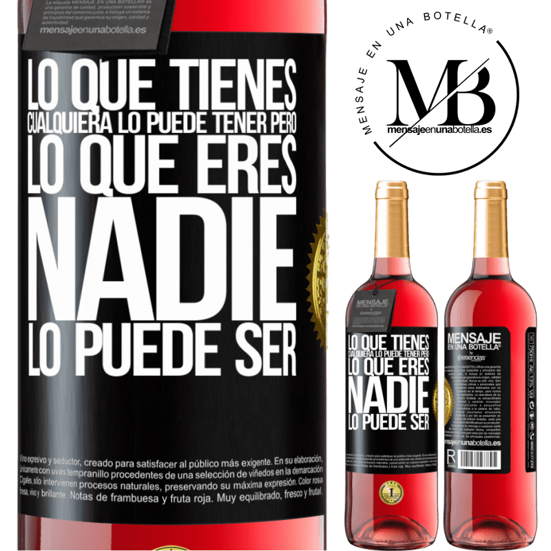 24,95 € Envoi gratuit   Vin rosé Édition ROSÉ Ce que vous avez, n'importe qui peut l'avoir, mais ce que vous êtes, personne ne peut l'être Étiquette Noire. Étiquette personnalisable Vin jeune Récolte 2020 Tempranillo