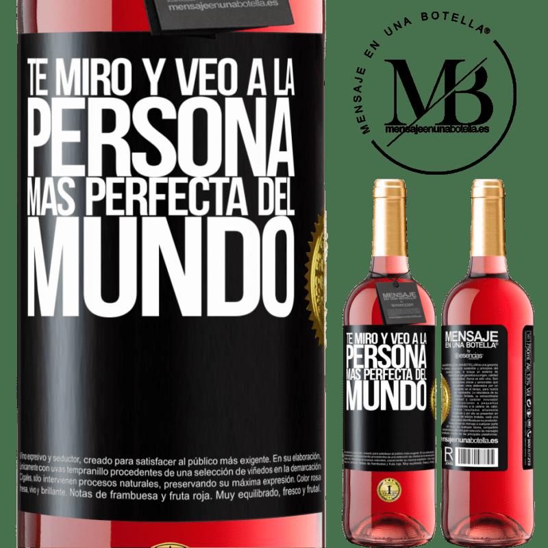 24,95 € Envoi gratuit   Vin rosé Édition ROSÉ Je te regarde et vois la personne la plus parfaite du monde Étiquette Noire. Étiquette personnalisable Vin jeune Récolte 2020 Tempranillo