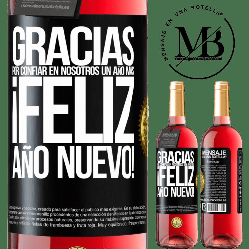 24,95 € Envoi gratuit | Vin rosé Édition ROSÉ Merci de nous faire confiance pour une autre année. Bonne année Étiquette Noire. Étiquette personnalisable Vin jeune Récolte 2020 Tempranillo