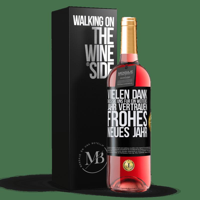 24,95 € Kostenloser Versand | Roséwein ROSÉ Ausgabe Vielen Dank, dass Sie uns für ein weiteres Jahr vertrauen. Frohes neues Jahr Schwarzes Etikett. Anpassbares Etikett Junger Wein Ernte 2020 Tempranillo