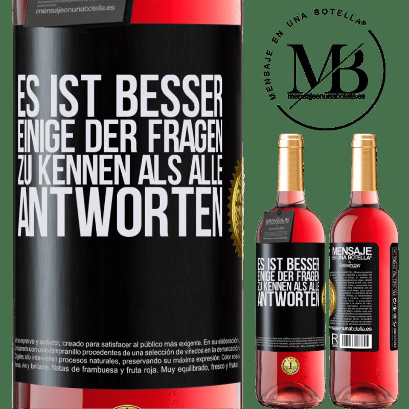 24,95 € Kostenloser Versand   Roséwein ROSÉ Ausgabe Es ist besser, einige der Fragen zu kennen als alle Antworten Schwarzes Etikett. Anpassbares Etikett Junger Wein Ernte 2020 Tempranillo