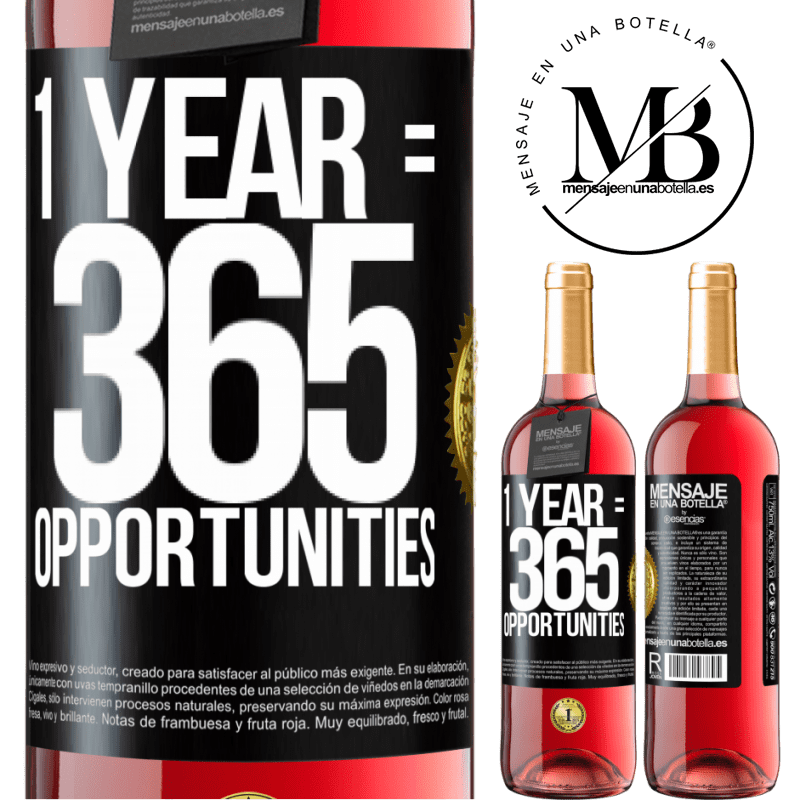 24,95 € Free Shipping | Rosé Wine ROSÉ Edition 1 year 365 opportunities Black Label. Customizable label Young wine Harvest 2020 Tempranillo