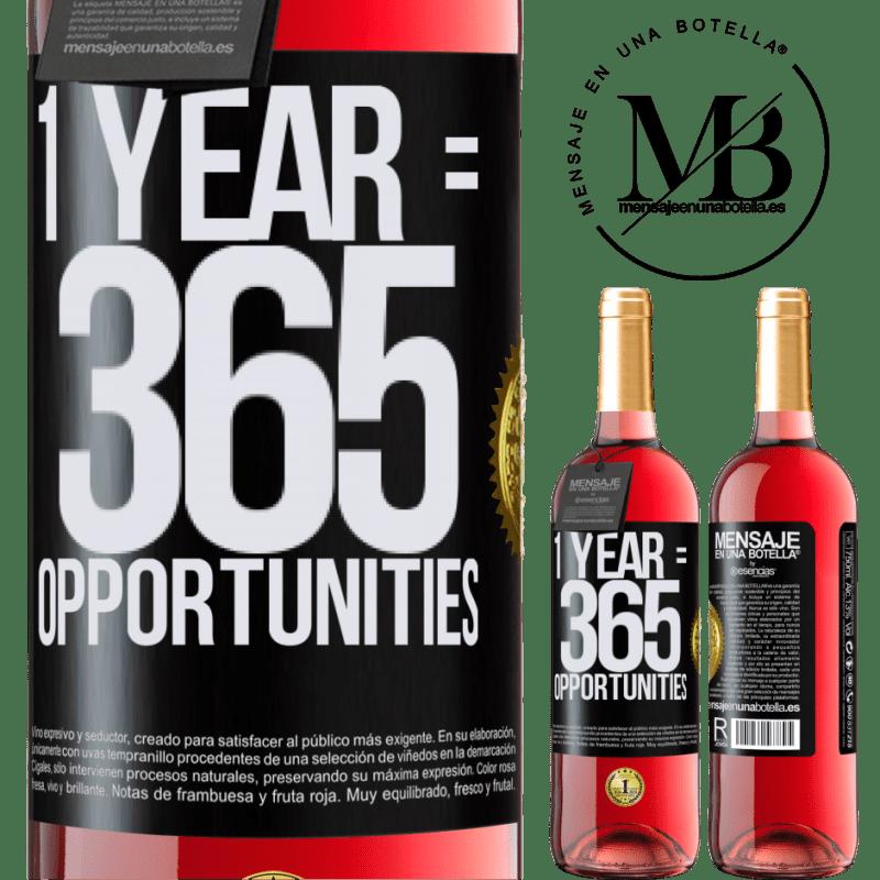 24,95 € Envoi gratuit | Vin rosé Édition ROSÉ 1 year 365 opportunities Étiquette Noire. Étiquette personnalisable Vin jeune Récolte 2020 Tempranillo