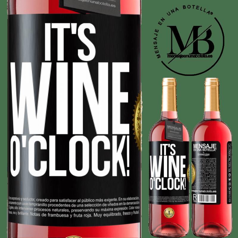 24,95 € Envoi gratuit | Vin rosé Édition ROSÉ It's wine o'clock! Étiquette Noire. Étiquette personnalisable Vin jeune Récolte 2020 Tempranillo