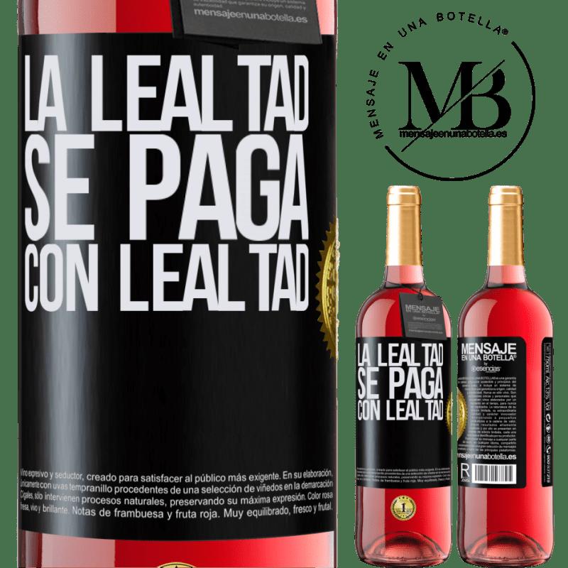 24,95 € Envoi gratuit | Vin rosé Édition ROSÉ La fidélité est payée avec fidélité Étiquette Noire. Étiquette personnalisable Vin jeune Récolte 2020 Tempranillo