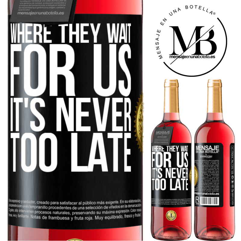 24,95 € Free Shipping   Rosé Wine ROSÉ Edition Where they wait for us, it's never too late Black Label. Customizable label Young wine Harvest 2020 Tempranillo