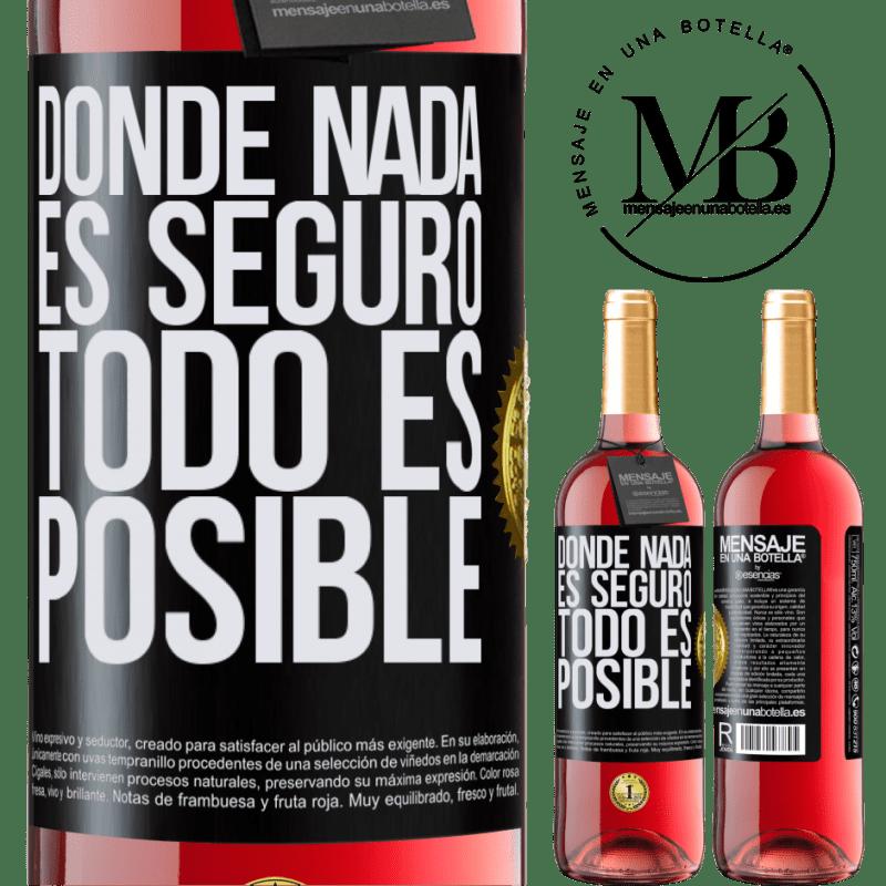 24,95 € Envoi gratuit | Vin rosé Édition ROSÉ Là où rien n'est sûr, tout est possible Étiquette Noire. Étiquette personnalisable Vin jeune Récolte 2020 Tempranillo