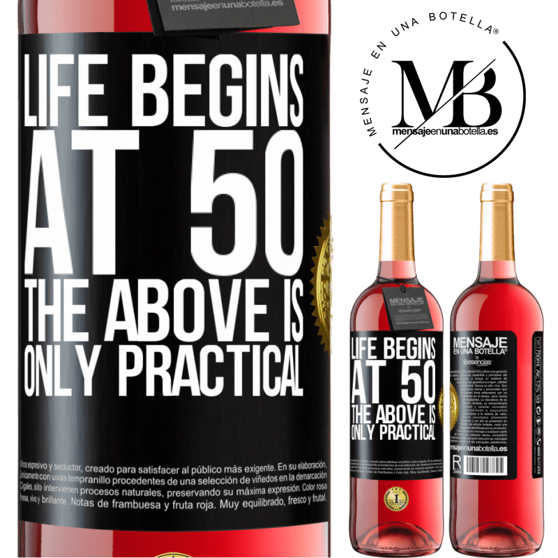 24,95 € Free Shipping   Rosé Wine ROSÉ Edition Life begins at 50, the above is only practical Black Label. Customizable label Young wine Harvest 2020 Tempranillo