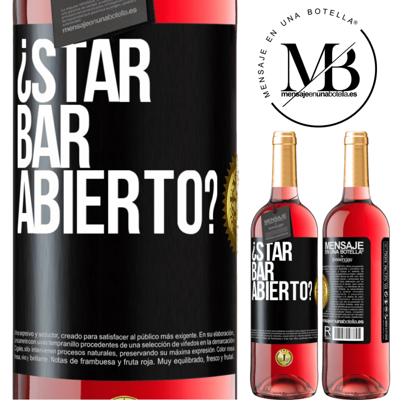24,95 € Free Shipping | Rosé Wine ROSÉ Edition ¿STAR BAR abierto? Black Label. Customizable label Young wine Harvest 2020 Tempranillo