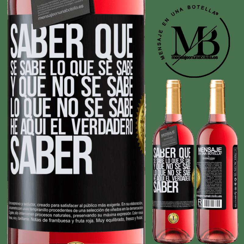 24,95 € Envoi gratuit | Vin rosé Édition ROSÉ Sachez que ce qui est connu est connu et ce qui n'est pas connu voici le vrai savoir Étiquette Noire. Étiquette personnalisable Vin jeune Récolte 2020 Tempranillo