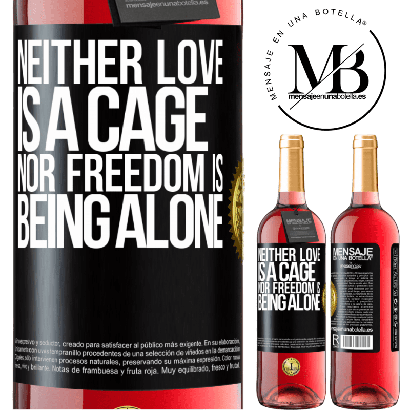 24,95 € Free Shipping   Rosé Wine ROSÉ Edition Neither love is a cage, nor freedom is being alone Black Label. Customizable label Young wine Harvest 2020 Tempranillo
