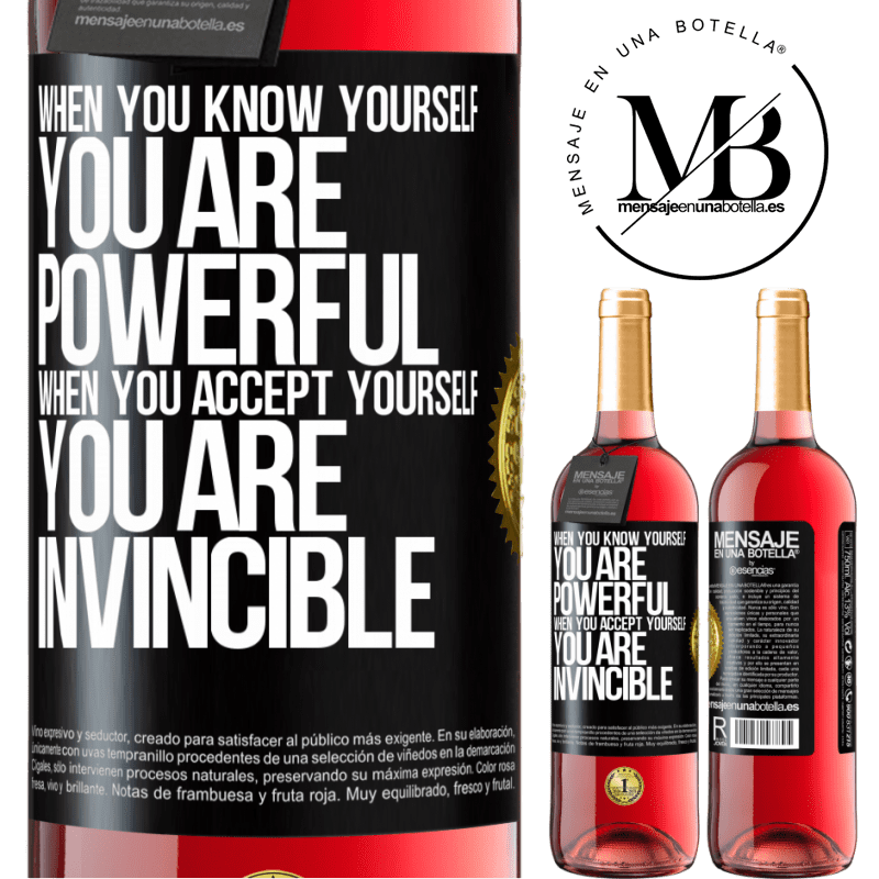 24,95 € Free Shipping   Rosé Wine ROSÉ Edition When you know yourself, you are powerful. When you accept yourself, you are invincible Black Label. Customizable label Young wine Harvest 2020 Tempranillo