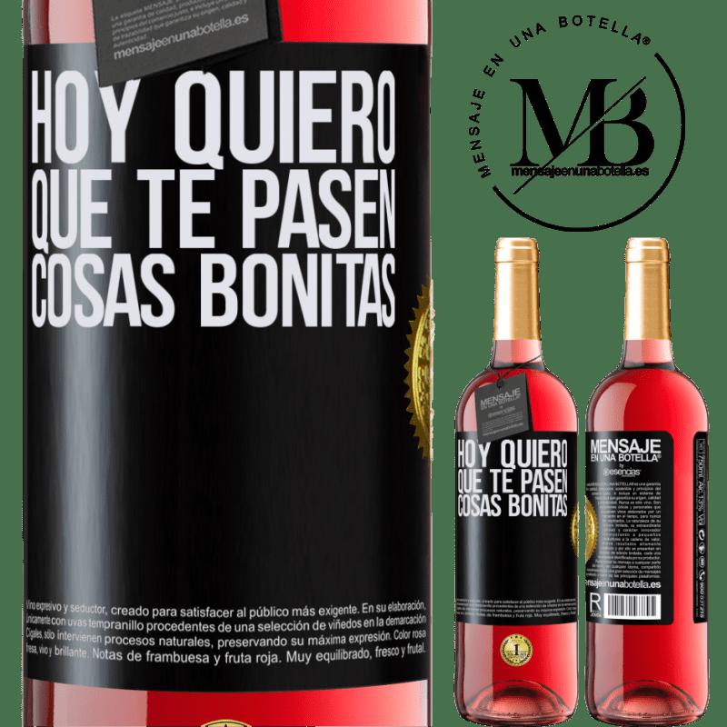 24,95 € Envoi gratuit | Vin rosé Édition ROSÉ Aujourd'hui, je veux que de belles choses vous arrivent Étiquette Noire. Étiquette personnalisable Vin jeune Récolte 2020 Tempranillo