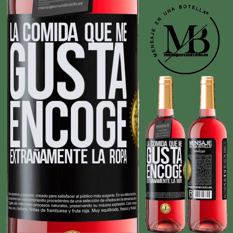 24,95 € Envoi gratuit   Vin rosé Édition ROSÉ La nourriture que j'aime rétrécit étrangement Étiquette Noire. Étiquette personnalisable Vin jeune Récolte 2020 Tempranillo