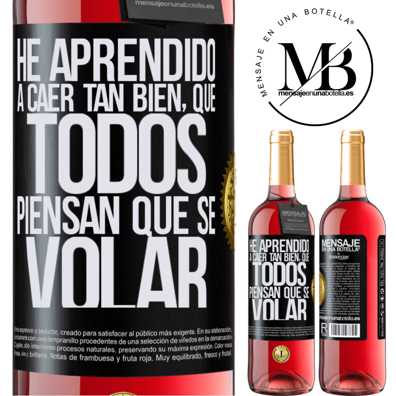 24,95 € Envoi gratuit | Vin rosé Édition ROSÉ J'ai appris à tomber si bien que tout le monde pense que je sais voler Étiquette Noire. Étiquette personnalisable Vin jeune Récolte 2020 Tempranillo