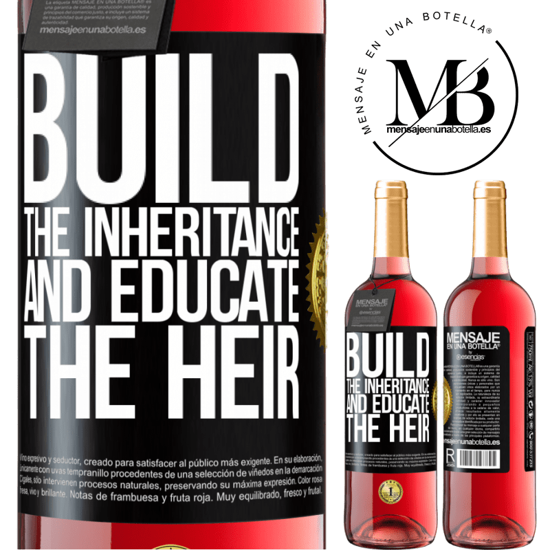 24,95 € Free Shipping   Rosé Wine ROSÉ Edition Build the inheritance and educate the heir Black Label. Customizable label Young wine Harvest 2020 Tempranillo