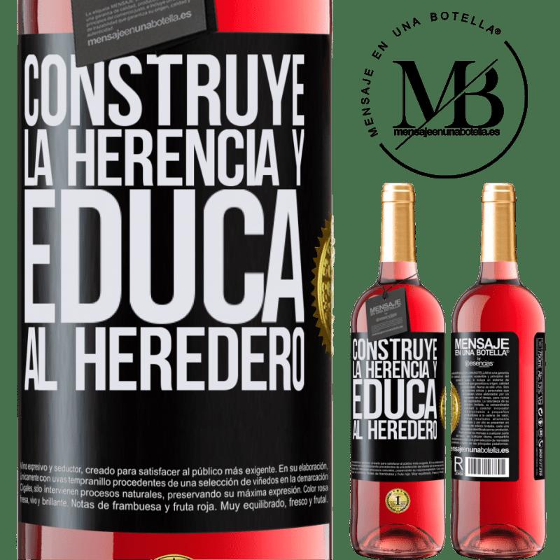 24,95 € Envoi gratuit | Vin rosé Édition ROSÉ Construire l'héritage et éduquer l'héritier Étiquette Noire. Étiquette personnalisable Vin jeune Récolte 2020 Tempranillo