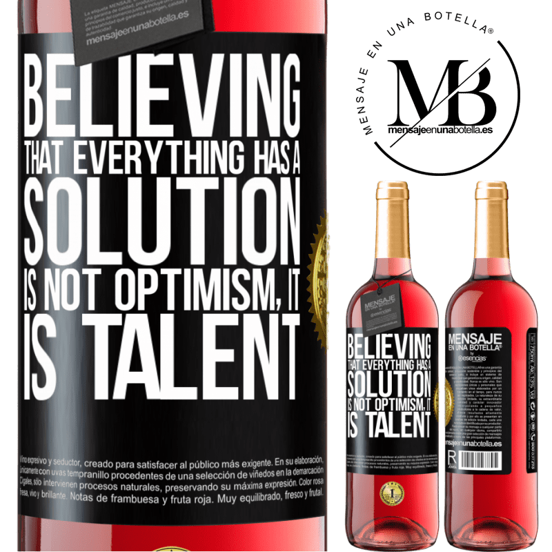 24,95 € Free Shipping   Rosé Wine ROSÉ Edition Believing that everything has a solution is not optimism. Is slow Black Label. Customizable label Young wine Harvest 2020 Tempranillo