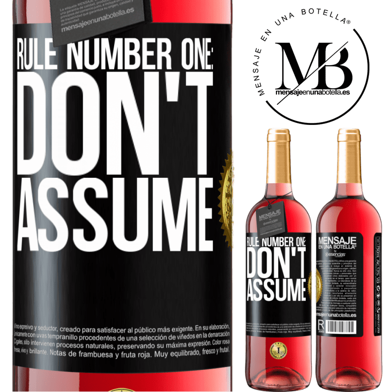 24,95 € Free Shipping | Rosé Wine ROSÉ Edition Rule number one: don't assume Black Label. Customizable label Young wine Harvest 2020 Tempranillo