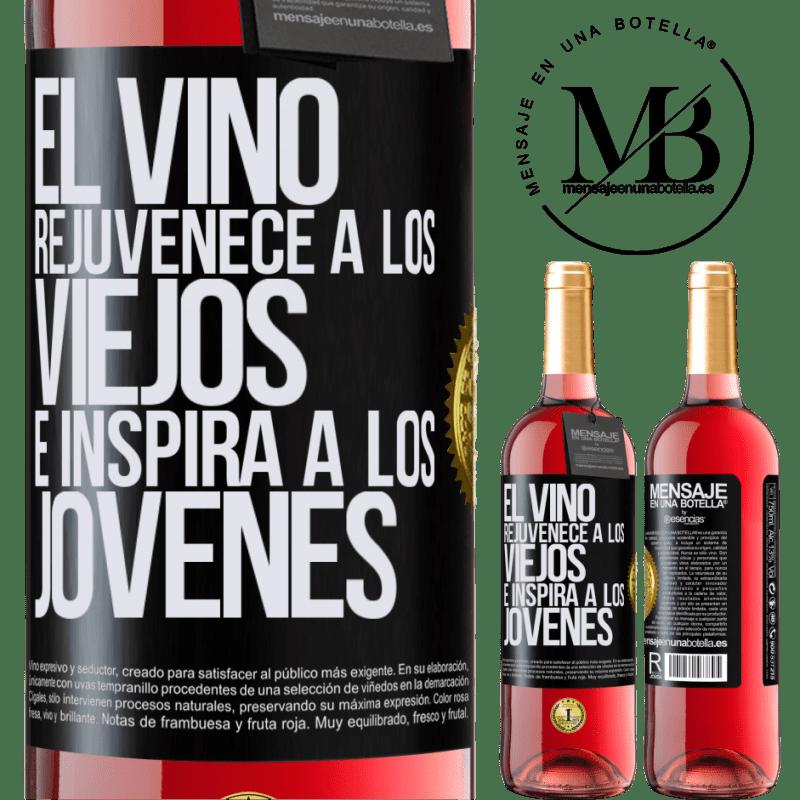 24,95 € Envoi gratuit   Vin rosé Édition ROSÉ Le vin rajeunit les vieux et inspire les jeunes Étiquette Noire. Étiquette personnalisable Vin jeune Récolte 2020 Tempranillo