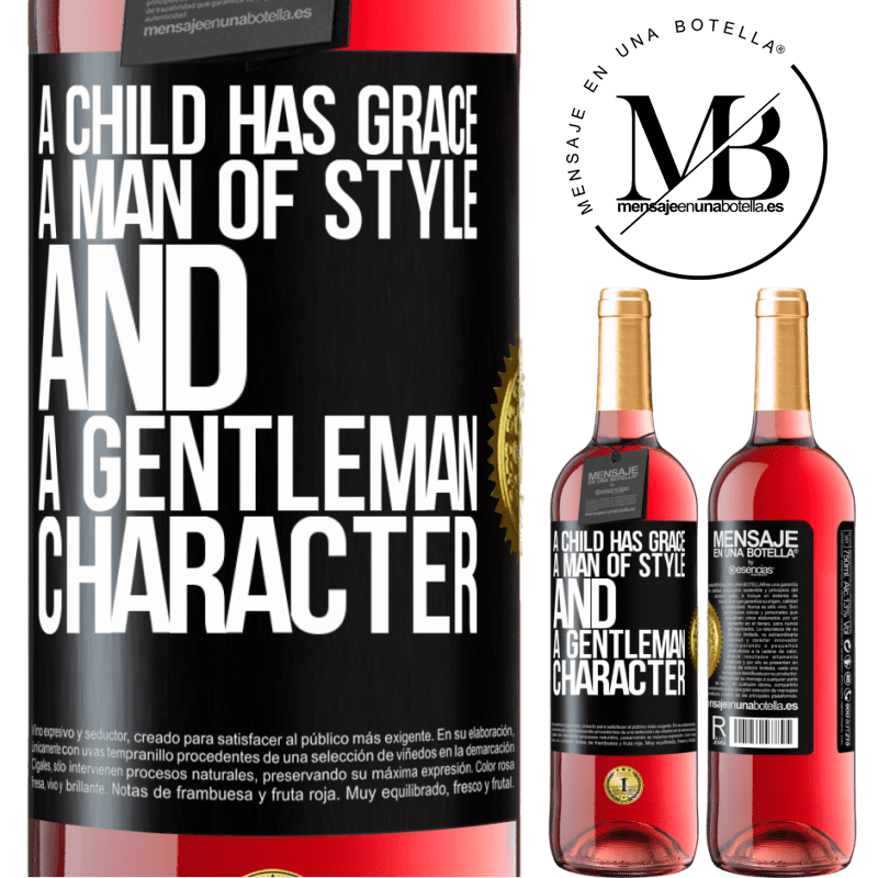 24,95 € Free Shipping | Rosé Wine ROSÉ Edition A child has grace, a man of style and a gentleman, character Black Label. Customizable label Young wine Harvest 2020 Tempranillo