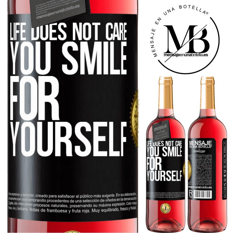 24,95 € Free Shipping   Rosé Wine ROSÉ Edition Life does not care, you smile for yourself Black Label. Customizable label Young wine Harvest 2020 Tempranillo