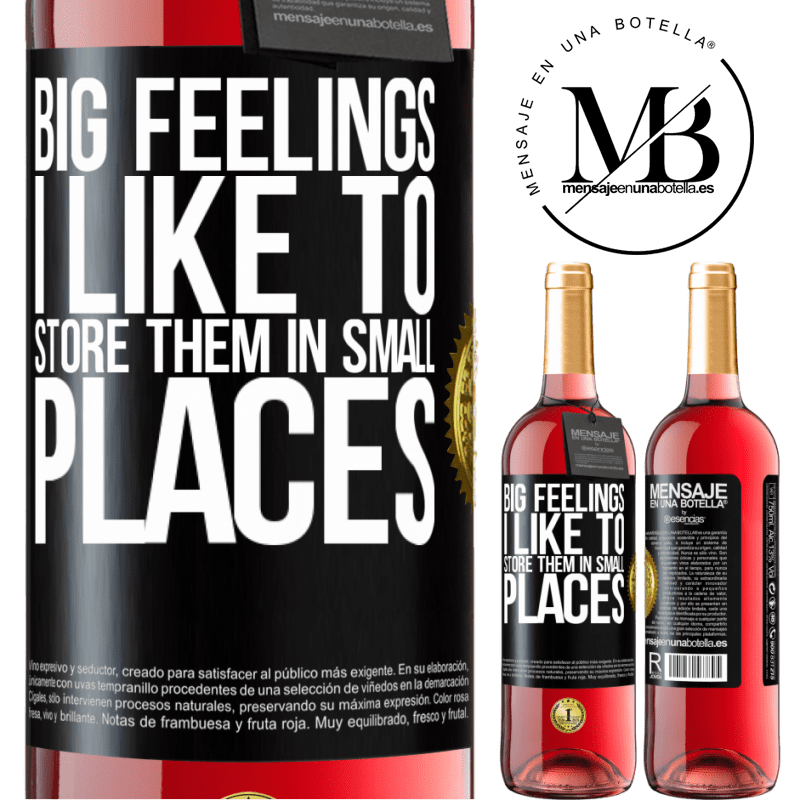 24,95 € Free Shipping | Rosé Wine ROSÉ Edition Big feelings I like to store them in small places Black Label. Customizable label Young wine Harvest 2020 Tempranillo