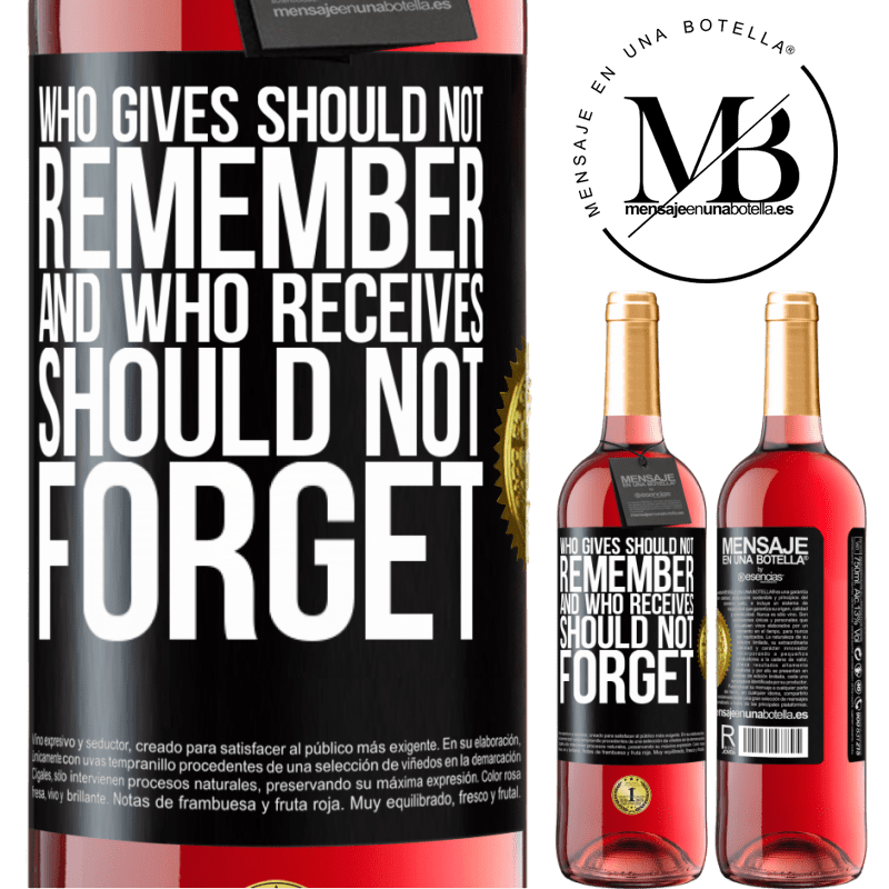 24,95 € Free Shipping | Rosé Wine ROSÉ Edition Who gives should not remember, and who receives, should not forget Black Label. Customizable label Young wine Harvest 2020 Tempranillo