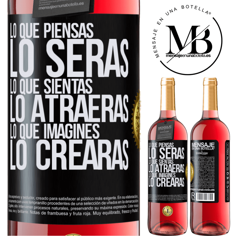 24,95 € Envoi gratuit | Vin rosé Édition ROSÉ Ce que vous pensez être, ce que vous pensez vous attirer, ce que vous imaginez créer Étiquette Noire. Étiquette personnalisable Vin jeune Récolte 2020 Tempranillo