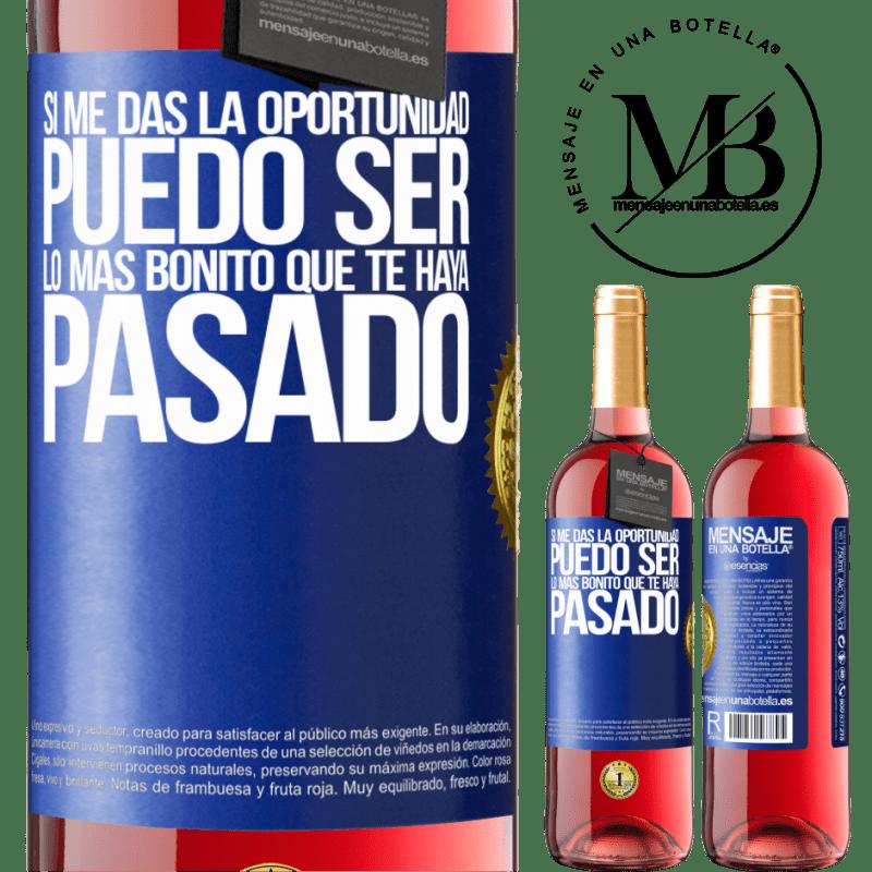 24,95 € Envoi gratuit | Vin rosé Édition ROSÉ Si vous me donnez l'occasion, je peux être la plus belle chose qui vous soit arrivée Étiquette Bleue. Étiquette personnalisable Vin jeune Récolte 2020 Tempranillo