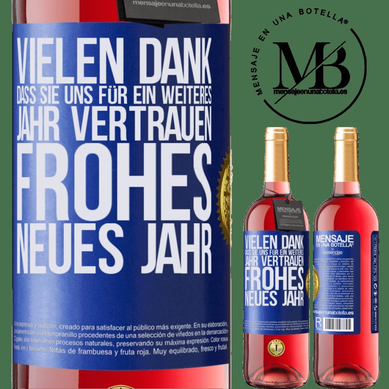 24,95 € Kostenloser Versand | Roséwein ROSÉ Ausgabe Vielen Dank, dass Sie uns für ein weiteres Jahr vertrauen. Frohes neues Jahr Blaue Markierung. Anpassbares Etikett Junger Wein Ernte 2020 Tempranillo