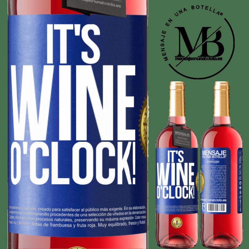 24,95 € Envoi gratuit | Vin rosé Édition ROSÉ It's wine o'clock! Étiquette Bleue. Étiquette personnalisable Vin jeune Récolte 2020 Tempranillo