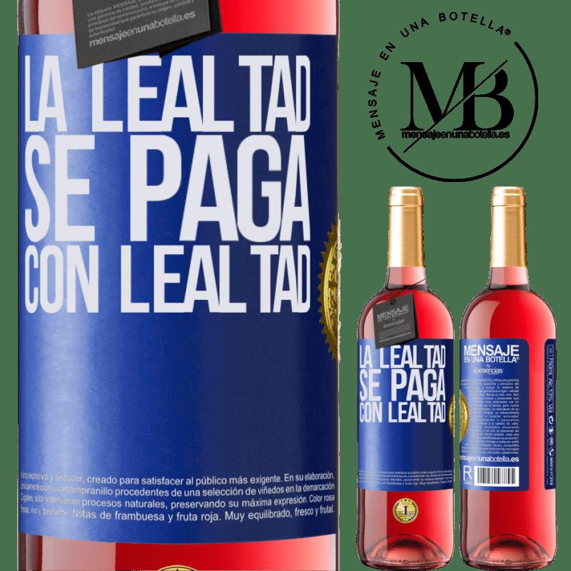 24,95 € Envoi gratuit | Vin rosé Édition ROSÉ La fidélité est payée avec fidélité Étiquette Bleue. Étiquette personnalisable Vin jeune Récolte 2020 Tempranillo